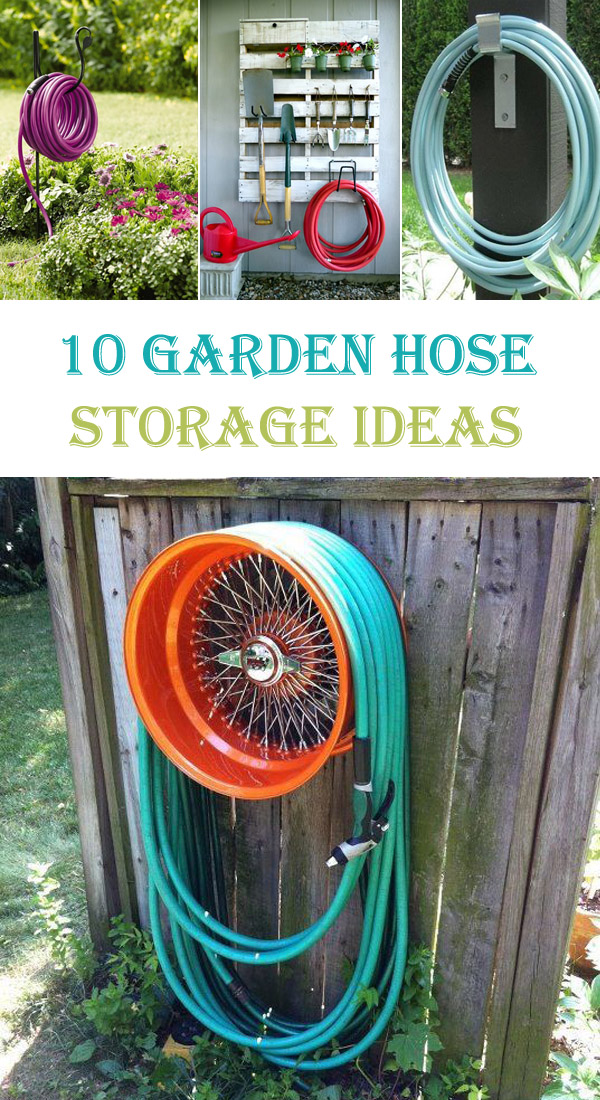 Water hose reel diy garden treasures steel 100ft hose pot for Diy garden hose storage