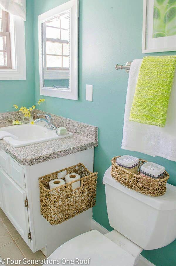 Beachy Raffia Bathroom Storage Baskets