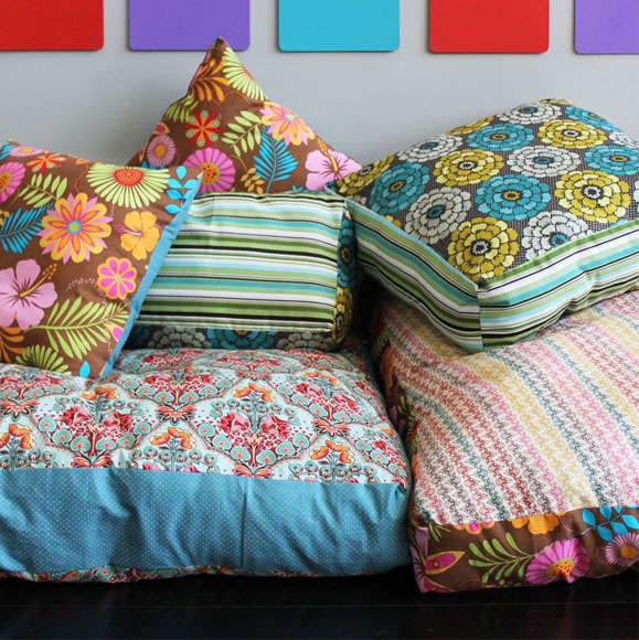 DIY Colorful Jumbo Floor Pillows