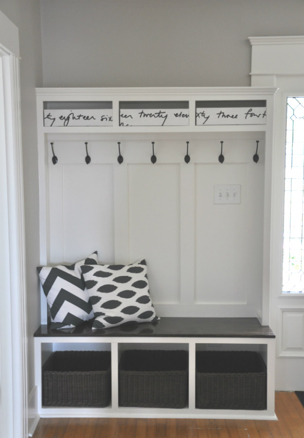DIY Entry Bench with Cubbies and Hooks