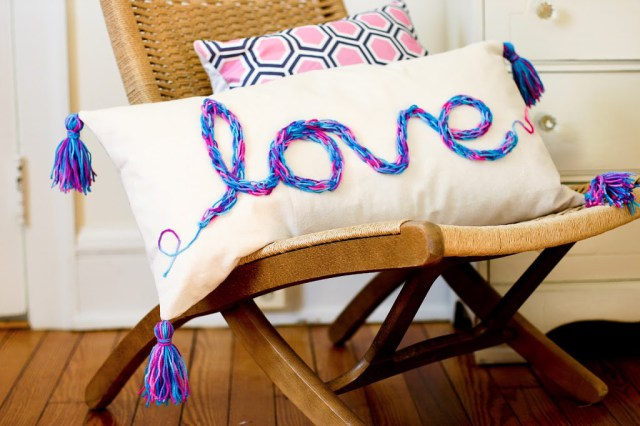 DIY Tasseled Love Pillow