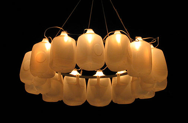 Outdoor Chandelier From Recycled Milk Containers
