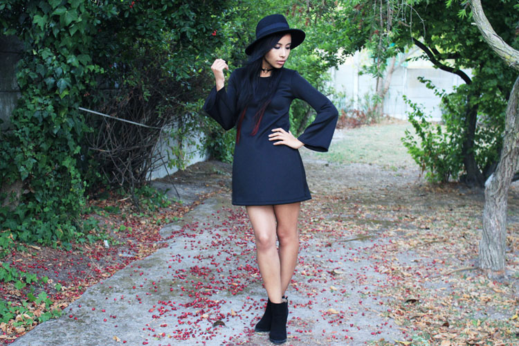 Bell Sleeves Shift Dress