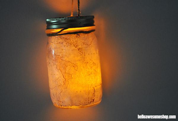 DIY Mason Jar Map Lantern