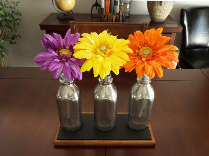 DIY Mirrored Milk Bottle Centerpiece