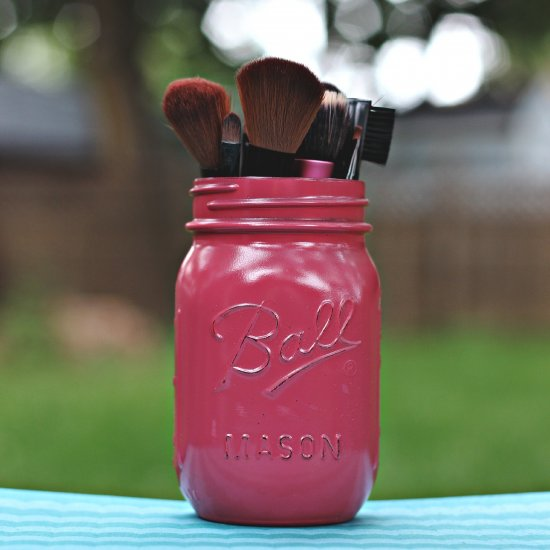DIY Painted Mason Jar Makeup Brush Holder