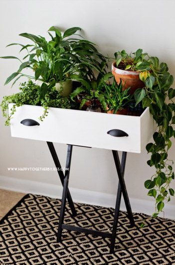 DIY Upcycled Drawer Plant Stand