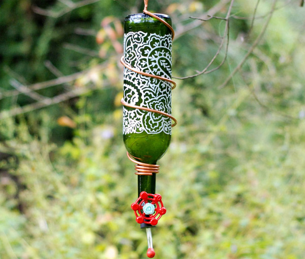 DIY Wine Bottle Hummingbird Feeder