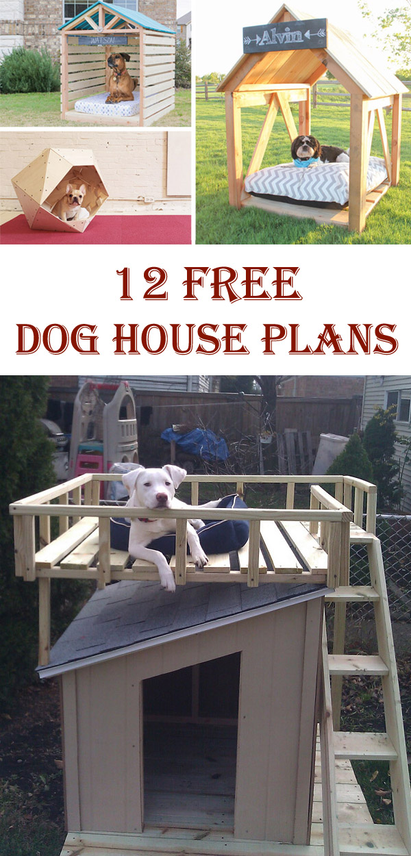 12 Free DIY Dog House Plans & Ideas - Cool DIYs Ideas For Dog House Designs on luxury homes for dogs, interior design for dogs, architecture for dogs, garage for dogs, painting for dogs, furniture for dogs, swimming pool for dogs, beach house for dogs, dream house for dogs,