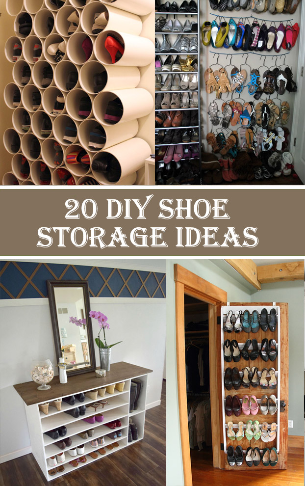 20 clever diy shoe storage ideas cool diys. Black Bedroom Furniture Sets. Home Design Ideas