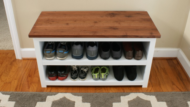 DIY Adjustable Shoe Storage Bench by FixThisBuildThat