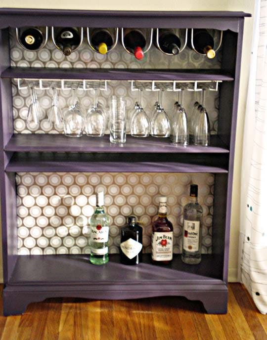 DIY Bookcase Turned Into a Bar