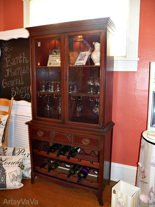 DIY China Cabinet Turned Into Wine Cabinet