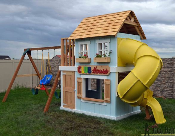 10 free diy playground playset plans cool diys diy clubhouse play set by ryobination solutioingenieria Image collections