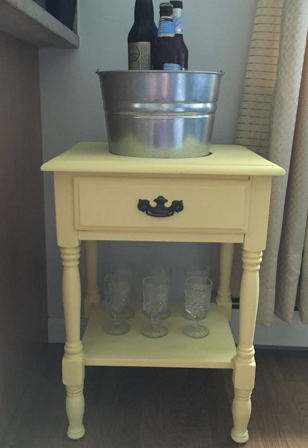DIY End Table Turned Into Drink Station
