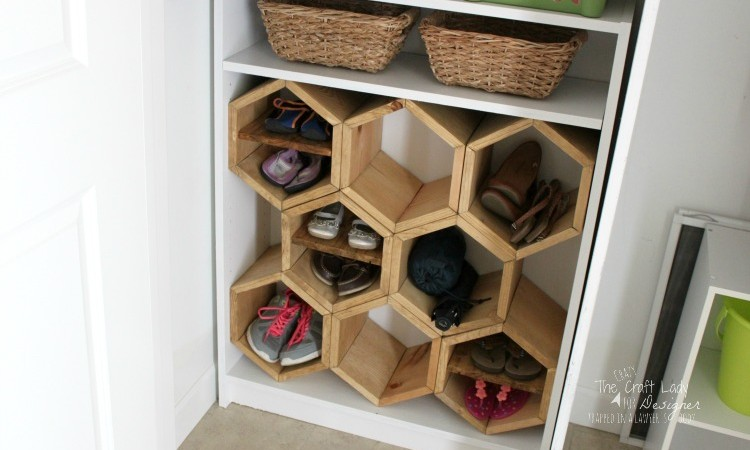 DIY Hexagon Shoe Rack by DesignerTrapped