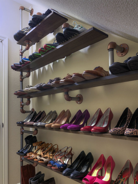 DIY Industrial Style Shoe Rack by Home-Dzine