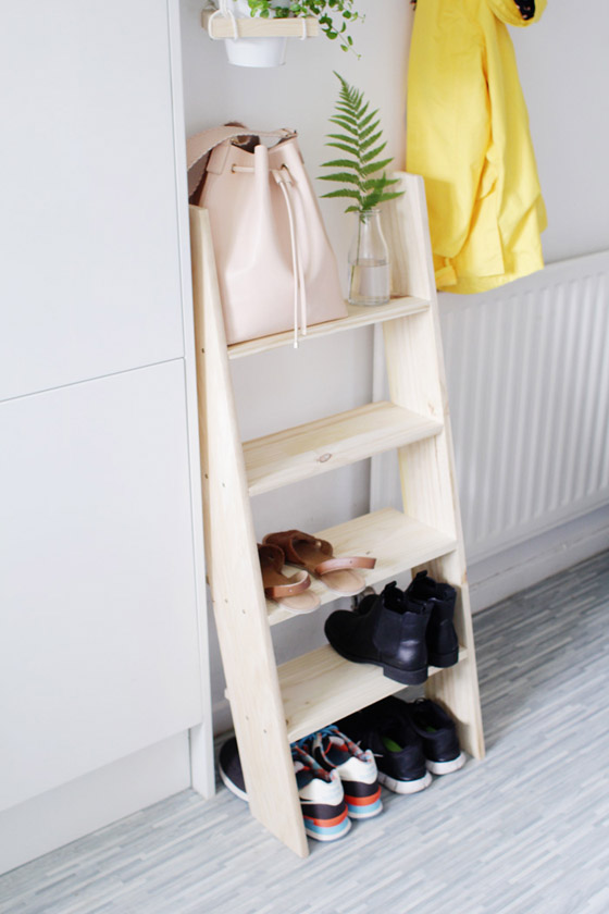 DIY Ladder Shelf Shoe Storage by DesignSponge