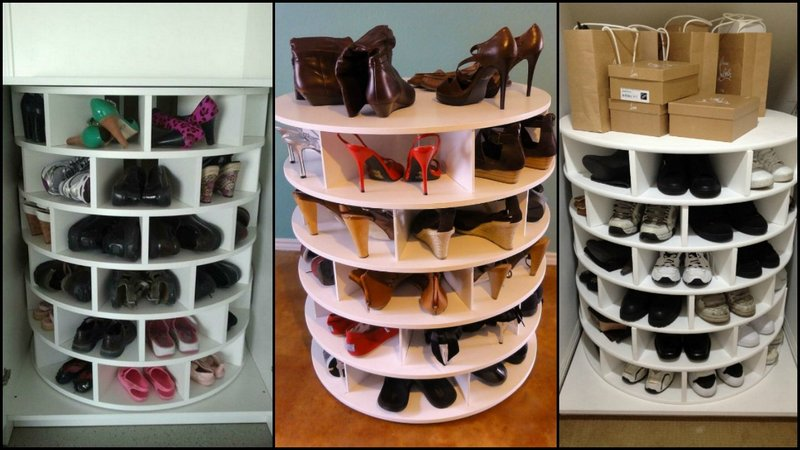 DIY Lazy Susan Shoe Storage by TheOwnerBuilderNetwork