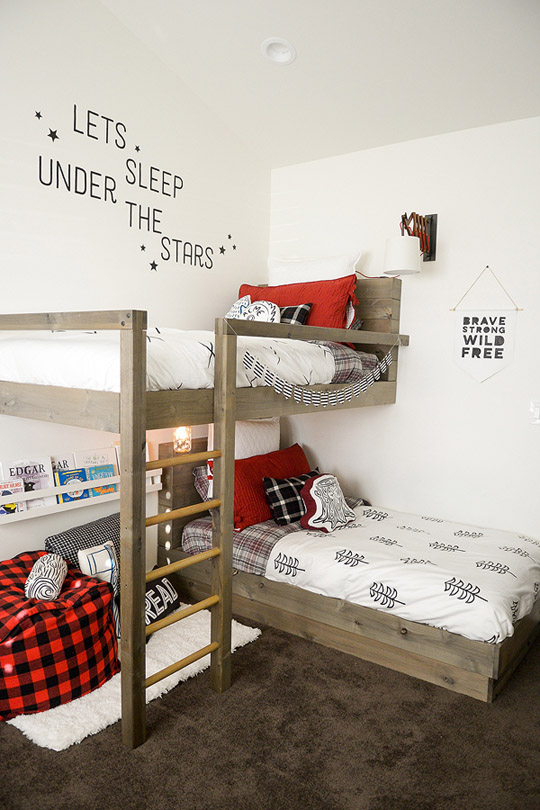 DIY Lumberjack Bedroom Bunk Beds
