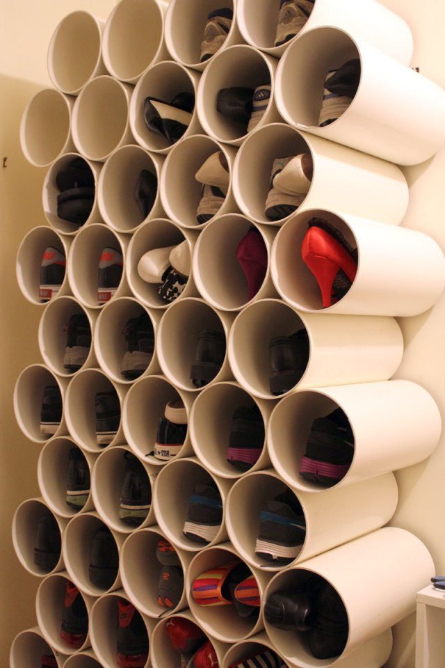 DIY PVC Pipe Shoe Rack by CookieLovesMilk