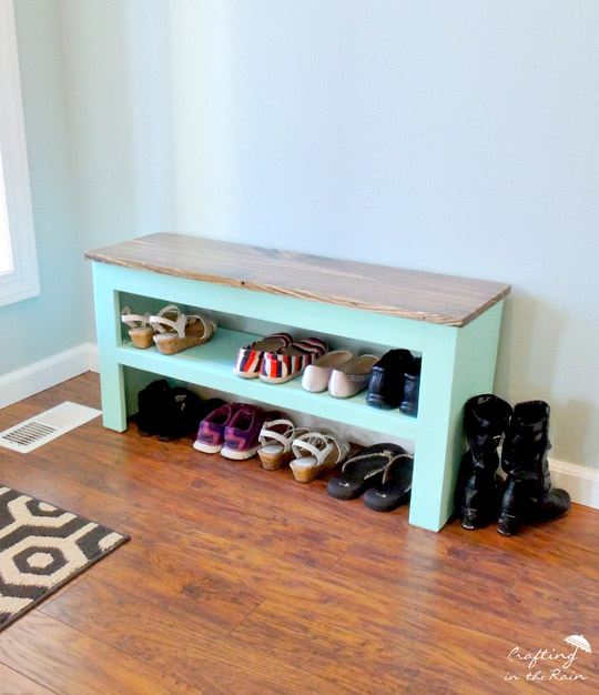 DIY Shoe Bench by CraftingInTheRain