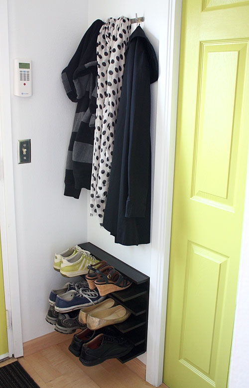DIY Shoe Rack For a Tight Space by NotMartha