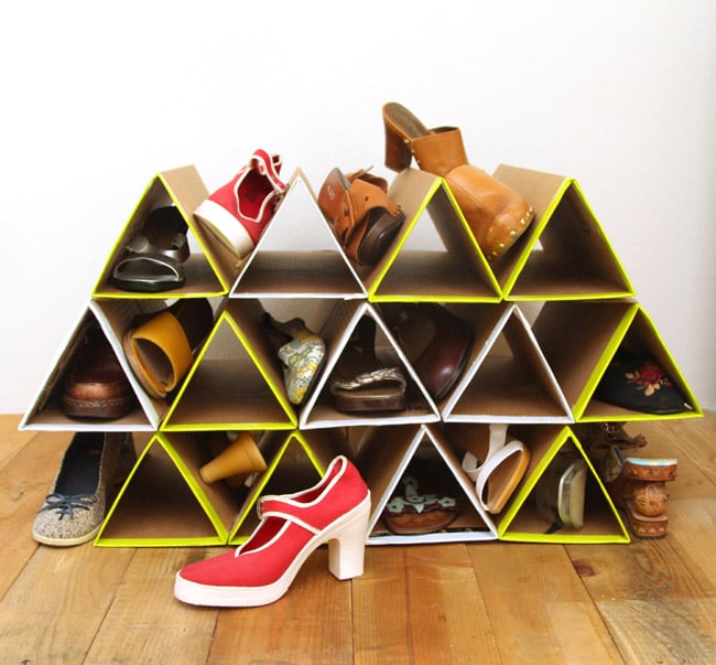 DIY Space Saving Shoe Rack by APieceOfRainbow