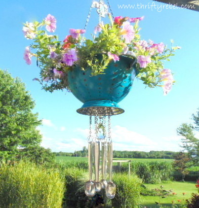 DIY Strainer Planter Wind Chime