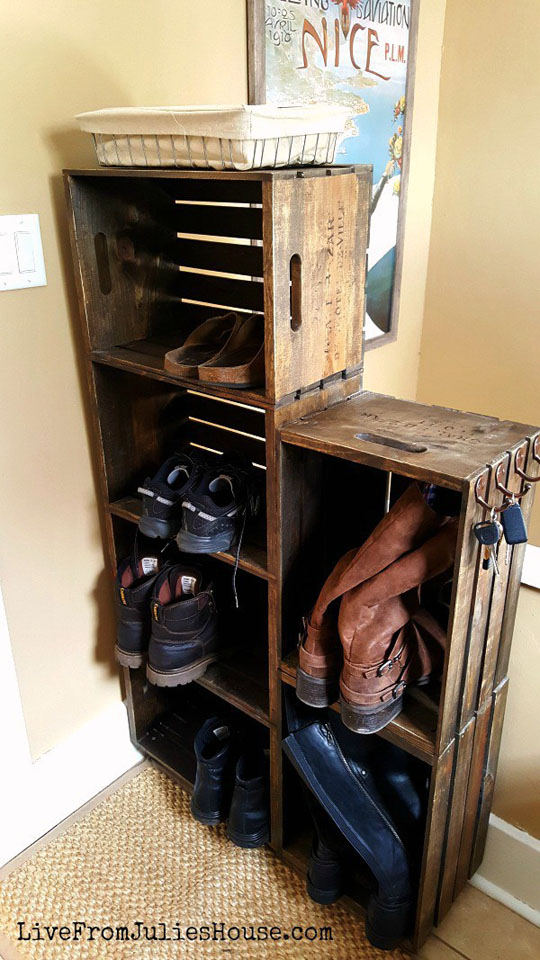 DIY Wooden Crate Shoe Rack by LiveFromJuliesHouse