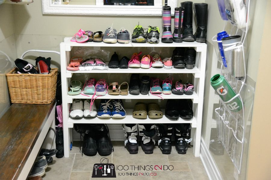 Easy DIY Shoe Rack by 100Things2Do