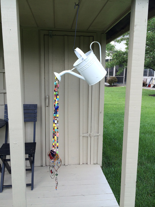 Homemade Wind Chime from Watering Can & Beads