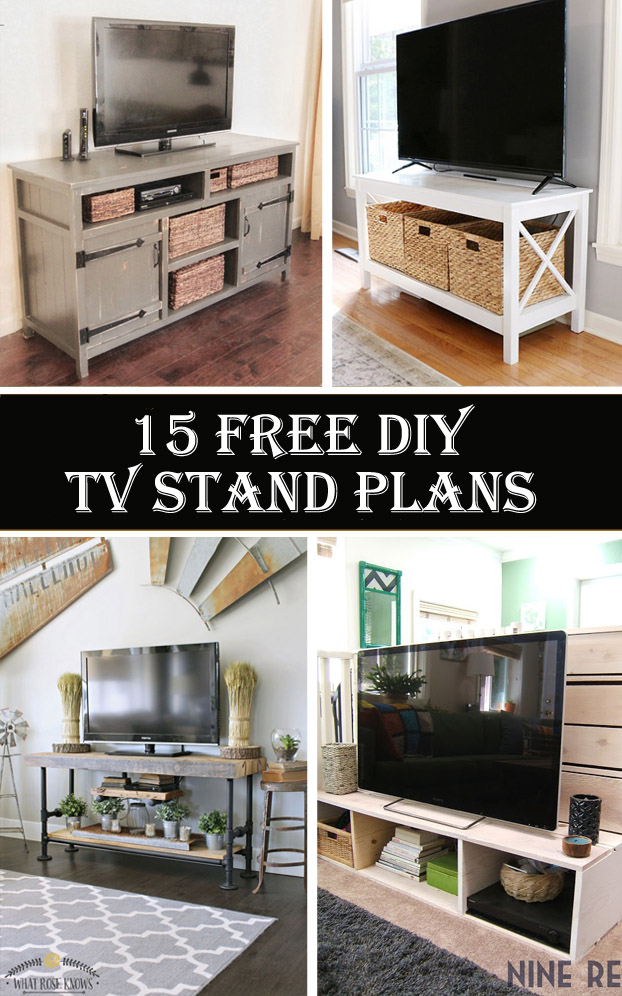 15 free diy tv stand plans cool diys. Black Bedroom Furniture Sets. Home Design Ideas