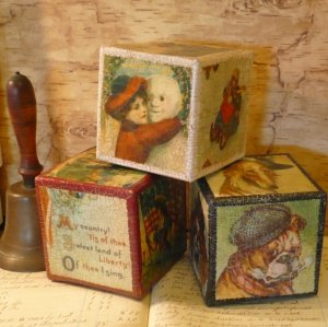 Antique Blocks from Milk Cartons