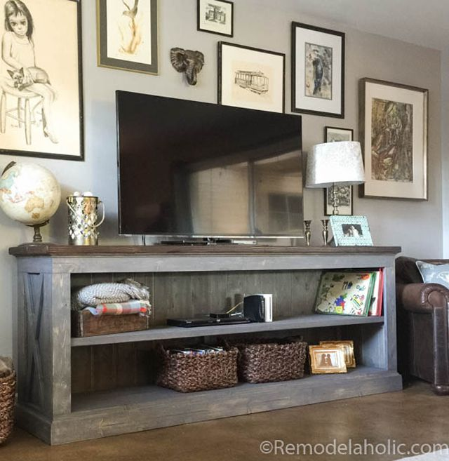 DIY Farmhouse Style TV Console by Remodelaholic