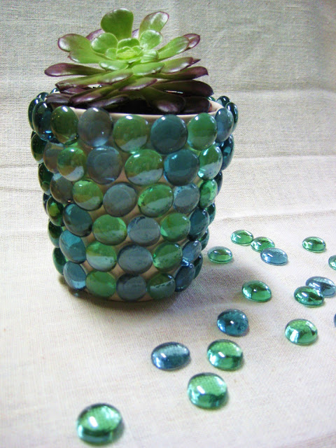 DIY Glass Gem Flower Pot