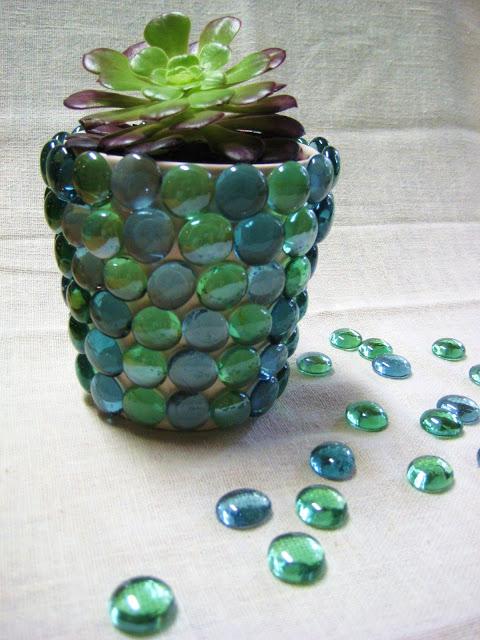 DIY Glass Gem Flower Pot