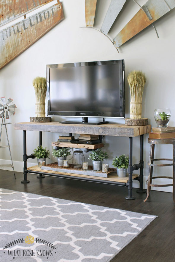 DIY Reclaimed Wood & Pipe TV Stand by WhatRoseKnows