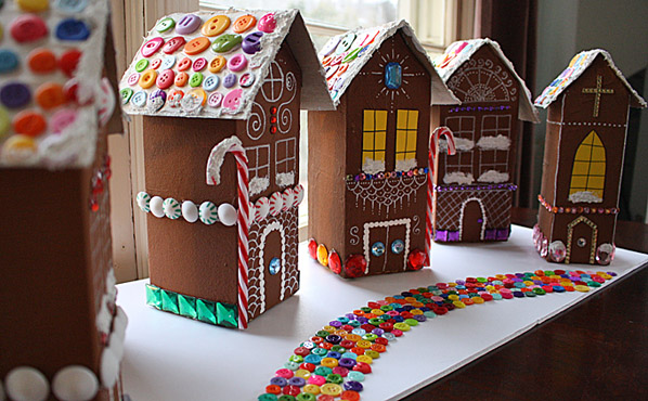 DIY Recycled Village of Gingerbread Houses