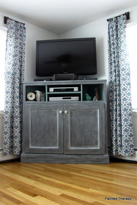 DIY Tall Corner Media Console by PaintedTherapy