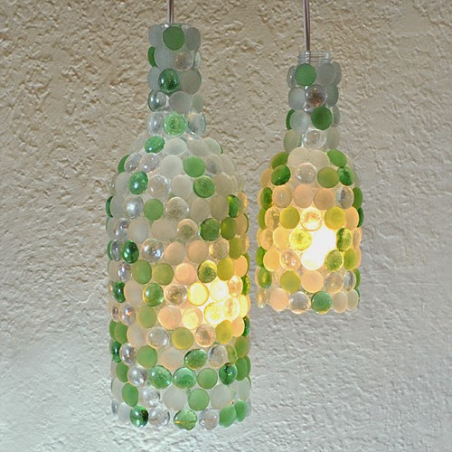 DIY Wine Bottle Pendant Lamps