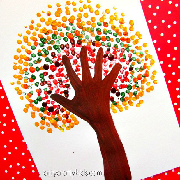 DIY Autumn Handprint Tree