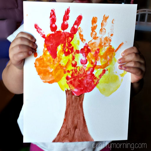 DIY Kids Handprint Fall Tree Craft