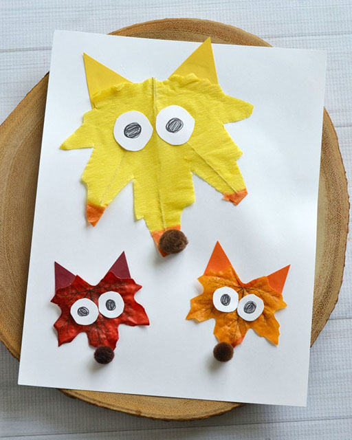 DIY Leaf Foxes