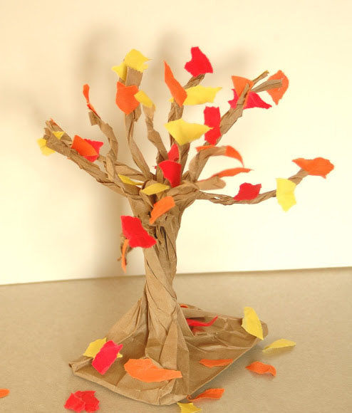 DIY Paper Bag Fall Tree