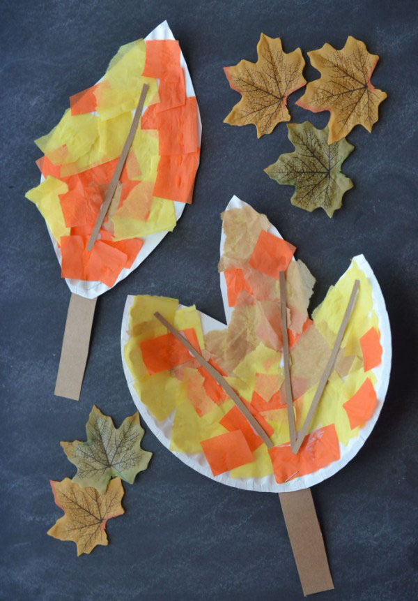 DIY Paper Plate Leaves