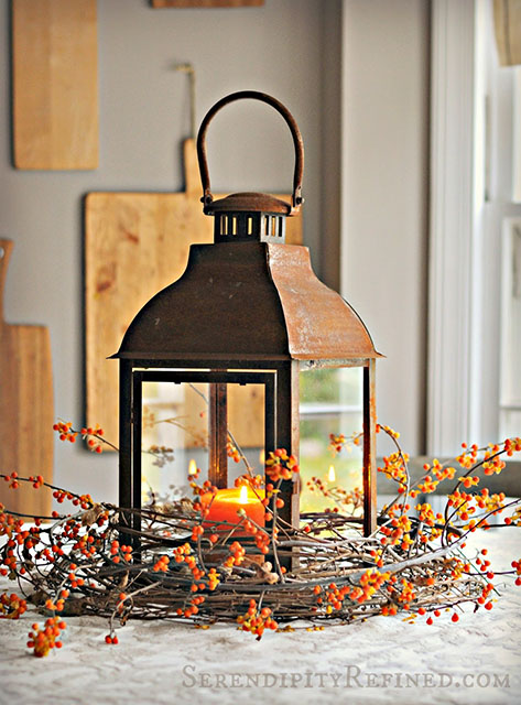 Rusty Lantern and Bittersweet Centerpiece