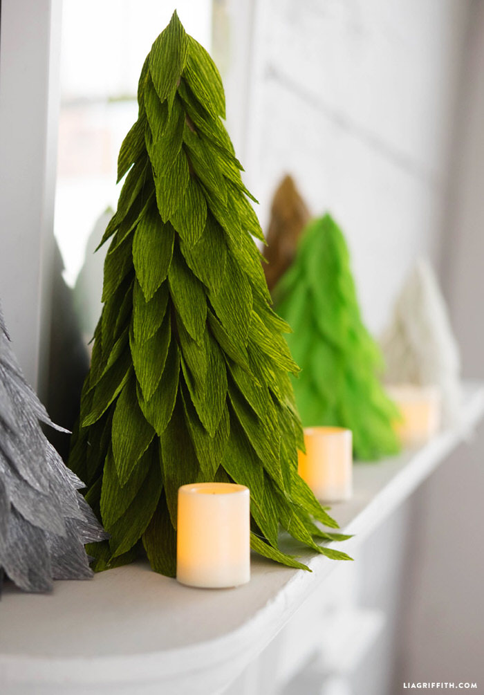 Crepe Paper Christmas Tree Cones Cool Diys